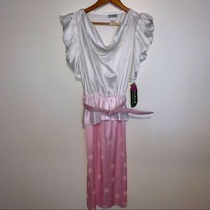 VINTAGE 80s dress pretty in pink pea patch